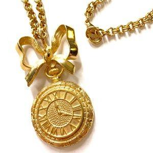 Gold bow clock vintage necklace